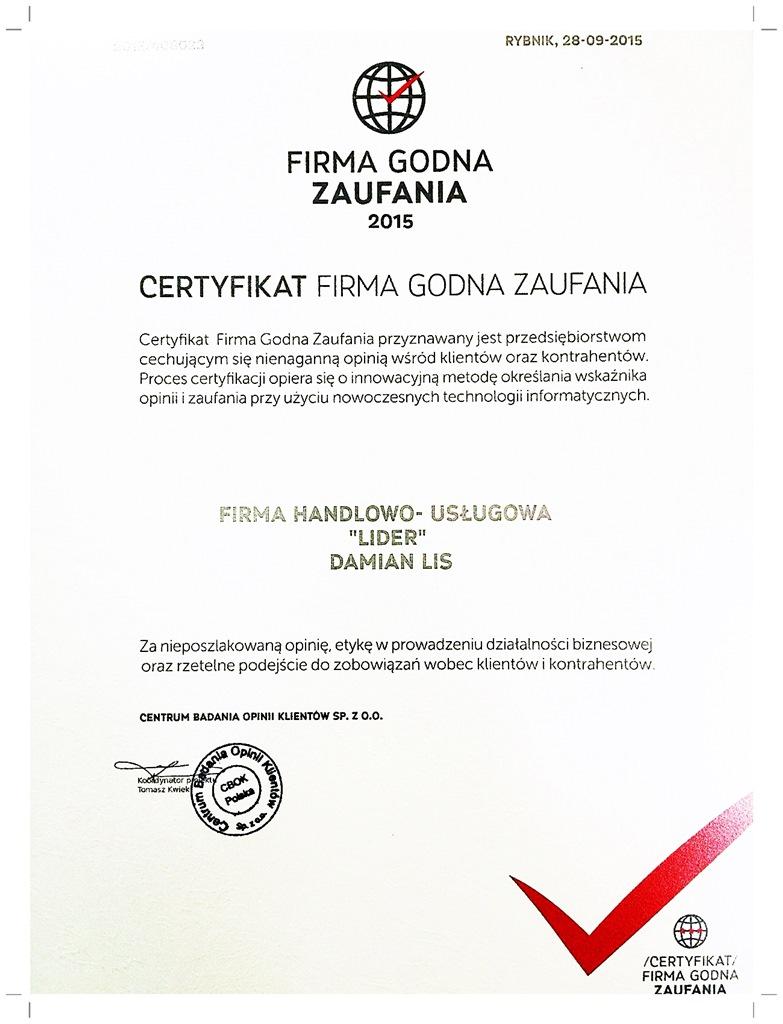 Certyfikat Firma Godna Zufania